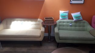 2 x Buttoned fabric sofas (1x yellow 3 seater and