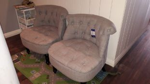 2 x Made bouji accent armchairs, grey cloth uphols