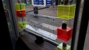 Cable suspended glass shelving window display unit
