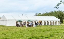 9M X 24M CLEARSPAN MARQUEE (PURCHASED APRIL 2019 FOR £11,500), WOODEN FLOOR, CHANDELIERS & INTERIOR LININGS