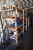 Large quantity of hand tools to wood shelving incl