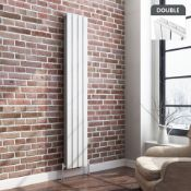 BRAND NEW BOXED 1800x300mm Gloss White Double Flat Panel Vertical Radiator.RRP £349.99.RC236.Made