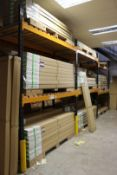 3 x Bays of Link 51M pallet racking, comprising 4 x 3m uprights, 12 x 2.4m cross beams, wooden