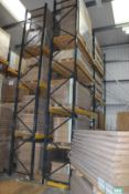 4 x Bays of Link 51E pallet racking, comprising 6 x 6m uprights, 26 x 2.4m cross beams, wooden