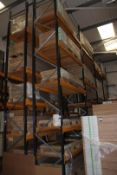 8 x Bays of Link 5M pallet racking, comprising: 10 x 6m uprights, 68 x 2.4m cross beams, wooden