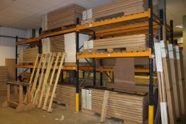 6 x Bays of Link 51M pallet racking, comprising 8 x 3m uprights, 24 x 2.4m cross beams, wooden