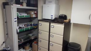 Contents of Kitchen to include Mini Refrigerator, Microwave, Kettle & Toaster, 2 x Steel 4 Drawer