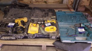 2 x Dewalt and 1 Makita Cordless Drills (Without Batteries)
