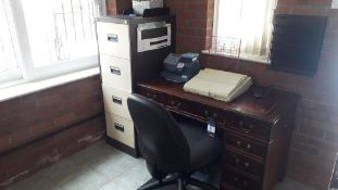 Contents of office to include Antique Style Twin Pedestal Desk, 3 x Steel 4 Drawer Filing