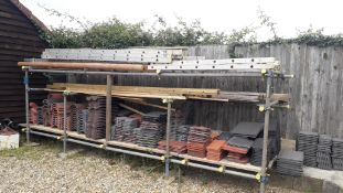 Scaffold Rack and Contents containing Various Tile