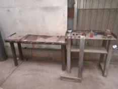 Steel fabricated work bench with various engineering tools and stamp. This lot is Buyer to Remove.