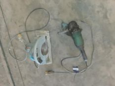 "Makita 9"" side grinder and Makita 5903R circular saw 110 volt. This lot is Buyer to Remove."