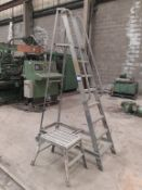 7 rung mobile step ladder and Faithfull fold away 'step-up'. This lot is Buyer to Remove.