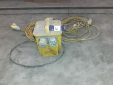 1 x 110 volt transformer and 2 x 110 volt extension leads. This lot is Buyer to Remove.