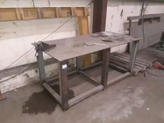 Steel fabricated work bench with Panamo Engineering vice 2000 x 1000mm. This lot is Buyer to Remove.
