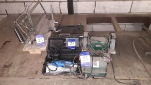 Quantity of Hand and Power Tools including Manual Mitre Saw, Parkside Double Bench Grinder and