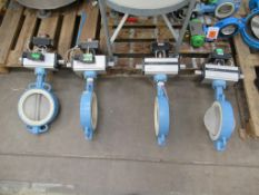 """4 x 8"""" (200mm) Cast Iron Housing Stainless Steel Actuated Butterfly Valves."""