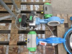 """2 x 4"""" (100mm) Cast Iron Housing Stainless Steel Actuated Butterfly Valves"""