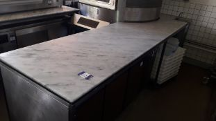 Marble Top Counter Section 340cm x 84cm with Semi