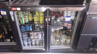 Glazed Double Door Back Bar Refrigerator (Contents