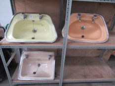 3 x Vintage Styled Coloured Sink Basins