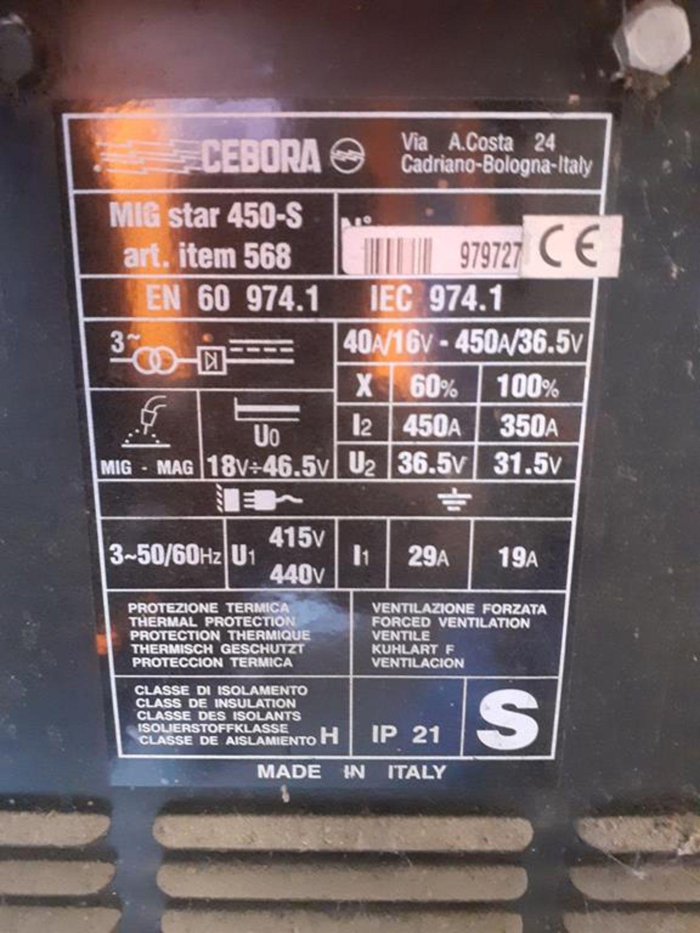 Cebora MIG Star 450-S Mig welder - Image 2 of 2