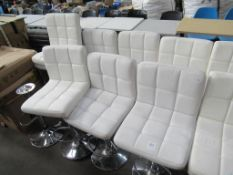 7 x white leather effect stools
