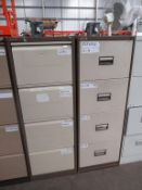 2 x metal 4 x drawer filing cabinets