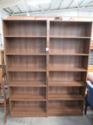 2 x wooden effect bookcases