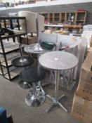 Qty of round top tables, stands etc.