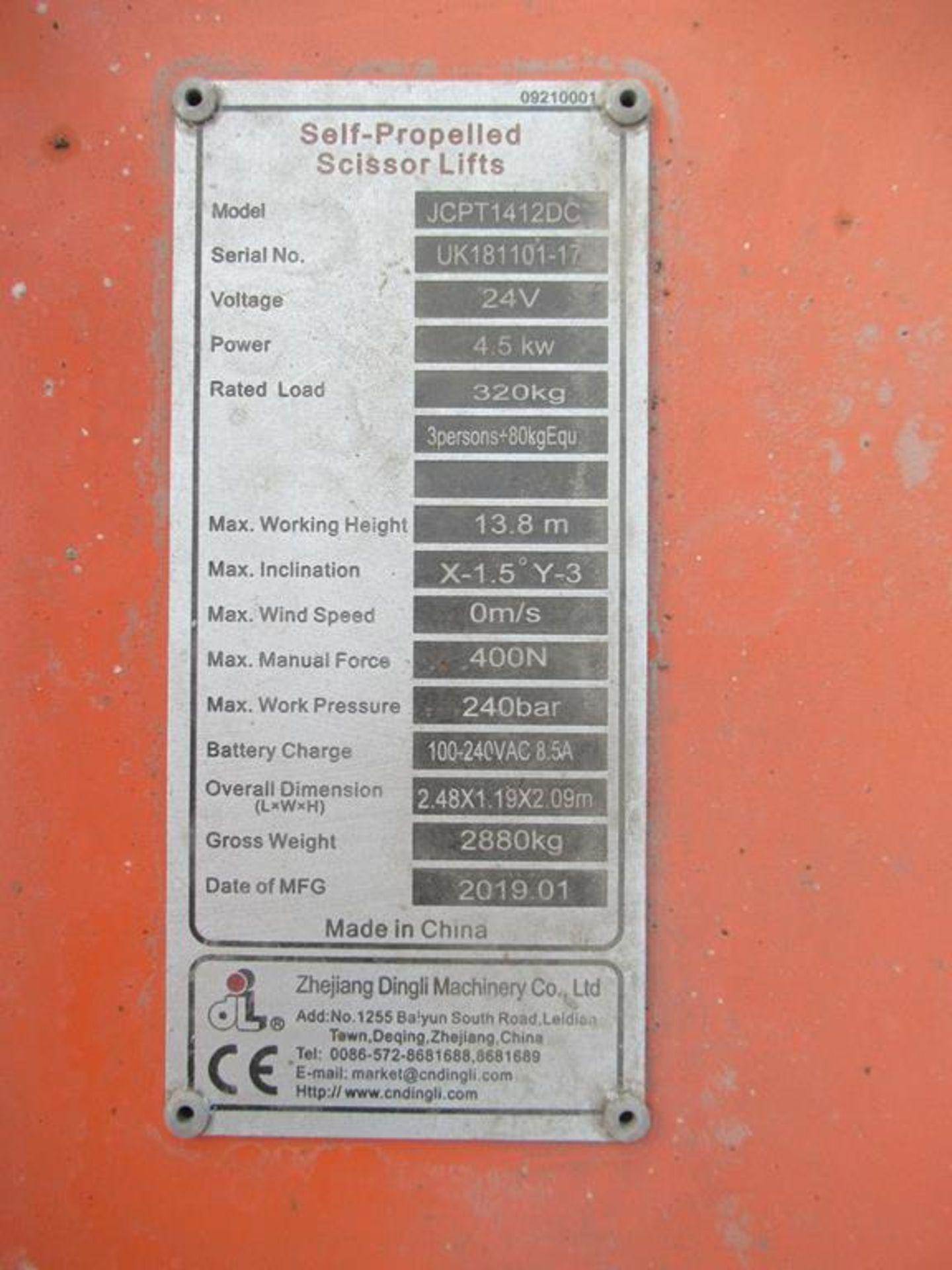 Dingli JCPT 1412 DC 24V electric scissor lift - Image 6 of 6