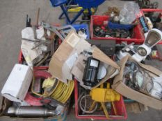 Pallet of miscellaneous items including cables, to