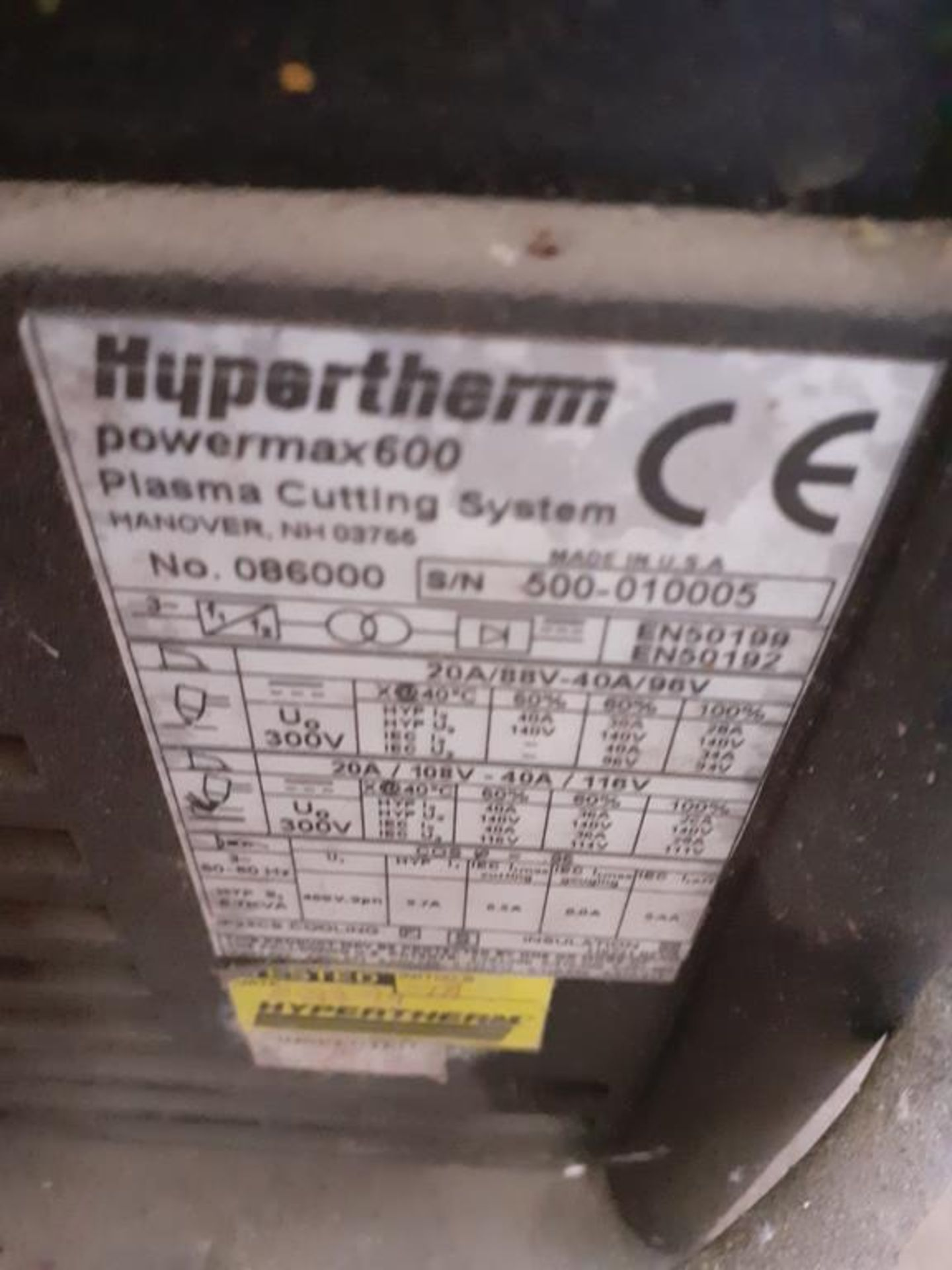 Hypertherm Powermax 600 plasma cutting system - Image 2 of 2