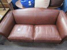 Brown leather effect two seater sofa
