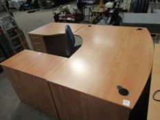 Large corner desk with pedestal and operators chai