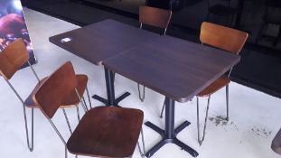 Two Oak Effect Pedestal Tables 700mm with 4 Steel Framed Chairs – Located 85 Scoresby Street,