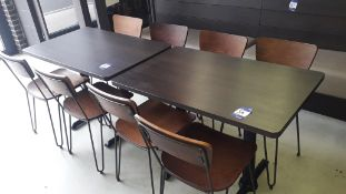 Two Oak Effect Twin Pedestal Tables 1,100mm with 8 Steel Framed Chairs – Located 85 Scoresby Street,
