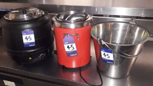 Two Soup Kettles & Stainless Steel Bucket – Located 85 Scoresby Street, London, SE1 0XN
