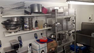 Aluminium Shelving Unit with Contents of Stainless Steel & Plastic Containers and Stainless Steel