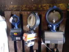 3 x Various Actuated Butterfly Valves