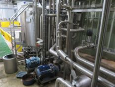 4 x pumps, 1000 litre process tank, valves and pip