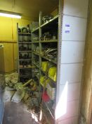 Contents of shelves & pallet pipe spares, plates,