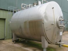 Stainless steel horisontal tank