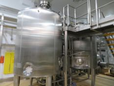 2 x stainless steel 10,000 litre whey buffer tanks