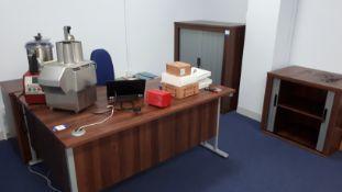 Dark Wood Effect Desk, Pedestal and 2 Tambour Fron