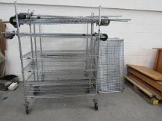 2 Mobile Multi Tier Wire Shelve Units and Quantity