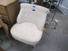 Upholstered Buttoned Bedroom Chair on Castors