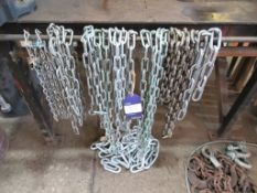 Qty of lifting tackle inc 4 leg chain Brothers (c 1.6m long), wire strops, large shackles and a qty