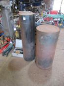 Steel roller drum 1260 x 350mm dia and a steel pedestal 1030 x 460mm dia