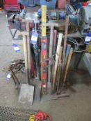 Qty of hand tools inc drop hammer, PRY bar, sledgehammers etc